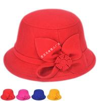 Retail New Autumn and winter wool chidren flower basin hats baby girls beanies kids bonnet for 3-8T