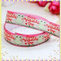 5/8'' Free shipping Fold Over Elastic FOE valentine owl printed headband headwear hair band diy decoration wholesale OEM P3492