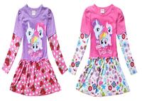 Wholesale-Childrens Dress Girls Autumn Dresses Kdis Dress My Little Pony Fashion Full Sleeve Cotton Dress Fit3-10 Years Children
