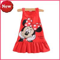 girls dress  Summer Girl Dress Cartoon girls pure color dress with shoulder-straps princess dress free shipping