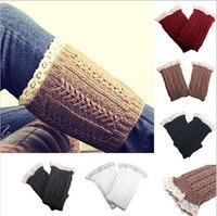 Women Lace Trim Crochet Knit Foot Leg Warmers Boot Cuff Sock Knee High Stockings