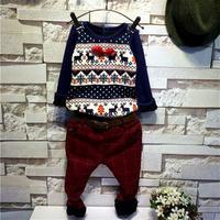 children's clothing wholesale boy winter money plus velvet deer bottoming shirt