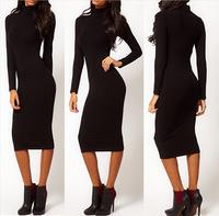 Hot autumn long sleeve turtleneck knit knee-length dress with slim hips Stretch Bodycon Pencil Midi Dress