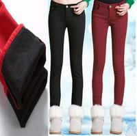 Fleece Warm Winter Pants Women Pencil Pants Candy Color Women Pants Velvet Cotton Jeans Pants  Denim Trousers 2014 Free Shipping