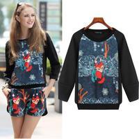 Fashion Women Sweatshirt Cute Fox Pattern 3/4 Sleeve Loose Plus Size Space Cotton Pullover UK Brand Autumn Acne Studios 7318