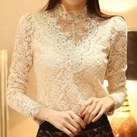 2014 WomenAutumn Winter Lace Blouse Casual Slim Blusas Femininas Long Sleeves Lace Shirt Flower Shirt Free Shipping YYJ576
