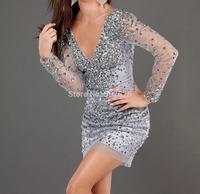 Tulle Fabric vestidos V Neck 100% Beading Hand Work Long Sleevs Short Prom dresses 2015  OL102436