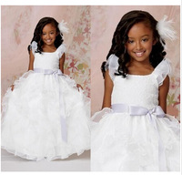2015 Anke length lace Flower Girl's Dresses Scoop Ball Gown Illusion Bows Gowns Sleeveless Flowers Formal Dress Custom Made