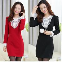 Plus Size Women Winter Thick Velvet Dress Female Slim V-neck Lace Patchwork Long Sleeve Dress Package Hip Dress 4XL 10309