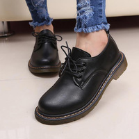 New England autumn 2014 mouth, low to help the woman big black leather shoes with flat with lace-up women's shoes 112201