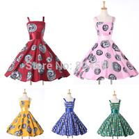 2015 New Cheap Women Casual Pattern Print dresses Short Ball Retro Vintage Rockability Swing Evening Party Prom dress CL6293