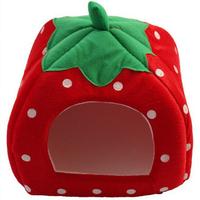 High Quality red size m Strawberry Sponge Pet House Bed Cat Dog Kennel Warm Cushion Basket 31cm*31cm