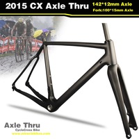 2015 Hot Sale Carbon Cyclocross Bike Frameset Thru Axle Bicycle Frame Fork Dia 27.2 Seat Post Disc Brake 54cm UD Matte