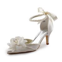 "Fashion Women EP11052 Ivory 3""Heel Pointed Toe Satin Flowers Pearls Wedding Bridal Shoes"