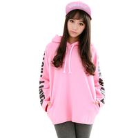 Women Winter Clothing Fashion Colorful Letter Casual Long Hoody Corduroy Warm Loose Teenager Pretty Sweatshirt Pull Panda 2308