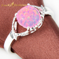 Hot Sale Wedding Jewelry Round Opal Rings For Women 925 Silver Engagement Semi-precious Jewelry