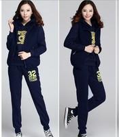 XL-4XL Brand 2014 Winter THick Women's Printed Sweatshirts Sport Suit Ladies Hoodies +Panty + Vest 3pcs Sets Plus size 1.4kg