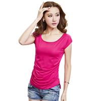 10Color Summer New Women T-Shirt Casual Korean Cotton Slim Tops Short Sleeve Sheer Blusa Femininas Blusa S-3XL Cheap 5028