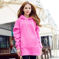 2014 Korean Teenager Fashion Hoodie Candy Color Loose Long Sleeve Corduroy Pullover Longos Sport Tracksuit Moletom Feminino 3308