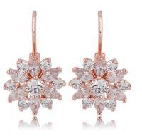 new design  sweet flower stud sarrings zircon stone earring women gift bijouterie luxury champagne gold earrings for women M517
