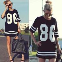 2014 Fashion Summer Women T Shirt American Baseball Oversized Loose Casual Coat Vestidos Femininos Free Shipping YYJ765