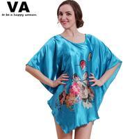 Women Sleepwear Plus Size Silk Short Sleeve O Neck Rayon Woman Nightgowns 2014 New Arrival Summer Pijamas Women Cotton W00206