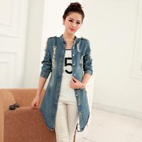 New Women Fashion Coat Korean Brand Hole Washed Long Single Brested Denim Jackets Street Casual Cardigan Casacos Feminino 6698