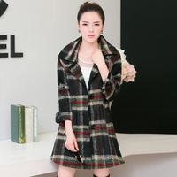 New Arrival Fashion Women Long Coat Wool Outwear Winter Warm Plaid Classic Design Plus Size