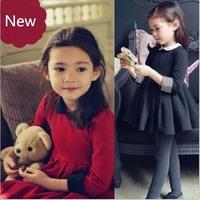 Retail 1 pcs New Spring Autumn Princess Dress Winter Children Clothing Doll collar Baby Girls Long-sleeves Kids Dresses AB521