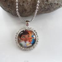 rhinestone,glass bottle cap pendant necklace for kids/girls style doc mcstuffins character pendant necklace cute chain necklace