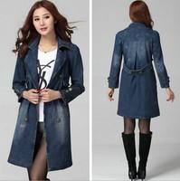 XL-6XL Blue Jeans Trench High Quality Women Plus Size XXXL 5XL Long Denim Coat Long Sleeve Turn Down Collar Loose Denim Coat