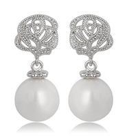 new camellia stud earrings for women flower stud earrings cubic zirconia earrings studs small stud earrings pearl earrings M415