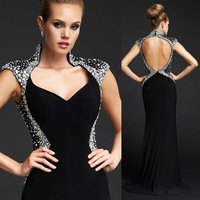 Vestido de Formature Crystal Prom Dress Backless Evening Gowns Mermaid 2015 Black White E6275