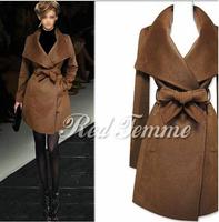 Brand Fashion Ladies top autumn winter outwear women wool coat trench outerwear slim mid-long winter woolen overcoat with belts