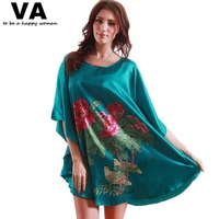 Homewear Women Dress Round Neck Peony Print Rayon Silk Female Robes 2014 Summer New Arrival Loose Home Clothes for Women W00173