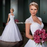 Vintage Lace Cap Sleeves Open Back Royal Princess Wedding Dress 2015 Vestido De Novia Sereia