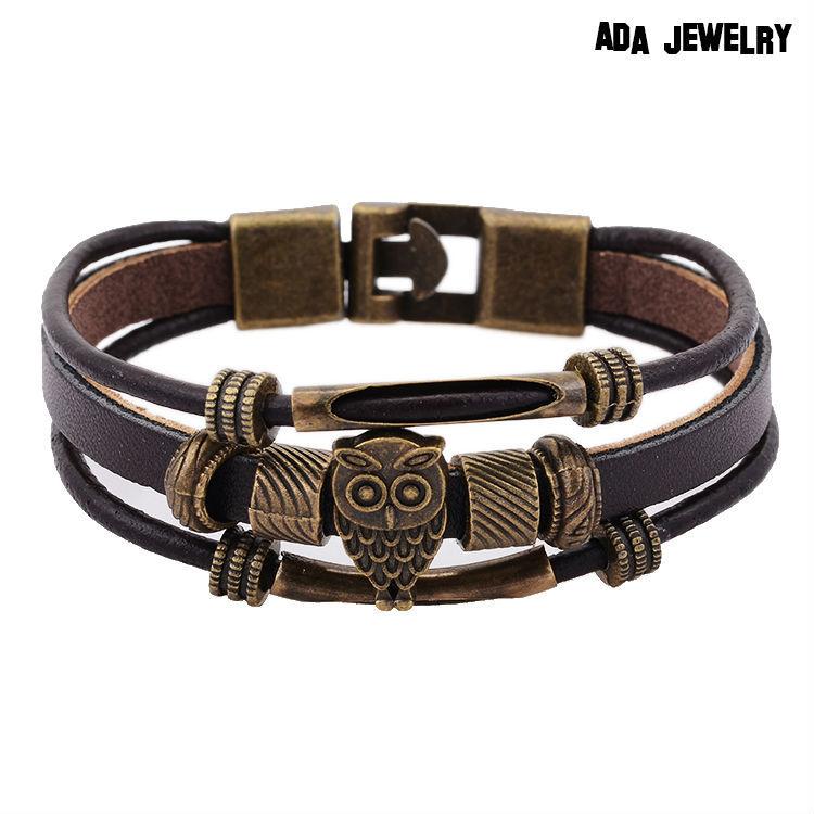 100 High Quality Genuine Leather Bracelet Lovely Animal Owl Bracelet Bangles Vintage Jewelry Wholesale Price