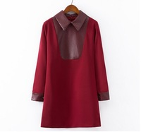 Women Casual Fashion Autumn Winter New High Quality PU Patchwork Dress Turn down Collar Long Sleeves Loose Dress(TK176)