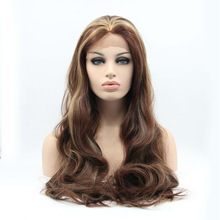 2014 NEW 24 inch Long Mixed Color Wave lace front wig Heat Resistant  60 cm Free shipping(China (Mainland))