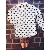 New arrival France Equipment real silk love heart print women blouse original EQ silk two pockets long sleeve shirt