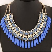 hot Arrival big drop beaded gem necklaces& pendants Trendy fashion bubble bib choker chunky statement necklace women jewelry