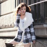 2014 New Fashion Winter Jacket Women European High Quality Casacos Femininos Desigual Big Fur Collar Trench Overcoat Outwear