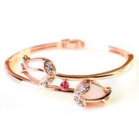 Fashion 18K Rose Gold Rhinestone Bracelet  Opal Crystal Bangles Jewelry
