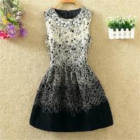 Fall Winter New Aristocratic Female Woolen Dress Slim Back With Zipper Printed Vest Dress Ball Gown Dress For Women S-2XL 10313