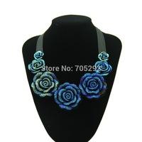 Brand Women Fashion Crystal  Flowers Pendant Necklace Jewelry Choker Statement Necklaces & Pendants