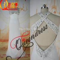 2014 Shiny Winter Halter Cross Back Pure White Color Christmas Party Beading Vestido de Noite Evening Gown Of Chiffon