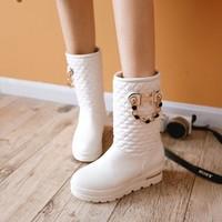 2014 autumn and winter fashion flat heel round toe boots for women medium-leg stripe boots short plush liner boots  9983 #