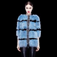 Free shipping DHL EMS Real Fox Fur Stitching Rabbit Fur Winter coat jacket women luxury elegant star style high quality outwear