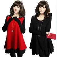 4XL Plus Size Lace Patchwork Dress Loose PU Leather Shoulder Woolen Sleeve Dress For Women Red Black 10310