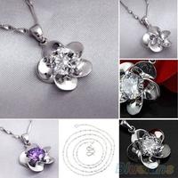 Women's 925 Sterling Silver Wintersweet Rhinestone Chain Pendant Jewelry Necklace
